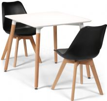 Toulouse Dining Set  - 80cms Square White Table & 2 Black Chairs